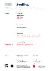 Zertifikat TEM